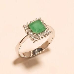 Natural Zambian Emerald Valentine Ring 925 Sterling Silver Girlfriend Jewelry AA