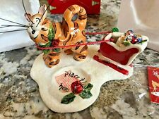 Blue Sky Clayworks Christmas Santa's Try Outs Cat T-Lite Holder 2005 Orig. Box
