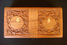 OLD VINTAGE HANDCARVED WOOD WITH BRASS Insertions Jewelry Flower CASE BOX