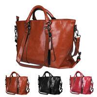Women Soft Oiled Leather Handbag Messenger Shoulder Tote Bag Crossbody Satchel
