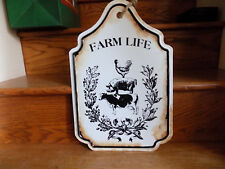 Farm house Chicken Cow Pig Porcelain Sign vintage style retro