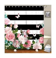 LIVILAN Black and White Stripes Shower Curtain Set with 12 Hooks Pink Floral ...