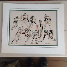 1990's Philadelphia Eagles Matted Print Signed by Jerry Thierolf 18 of 25 RARE!!