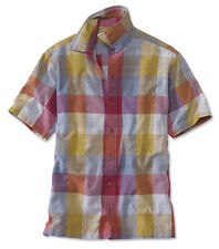 Orvis Mens XL Bluegill Colorblock Short Sleeved Shirt Red Blue Button NWT XLarge