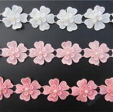 1yd Vintage Flower Heart Pearl Lace Edge Trim Wedding Ribbon Applique DIY Sewing