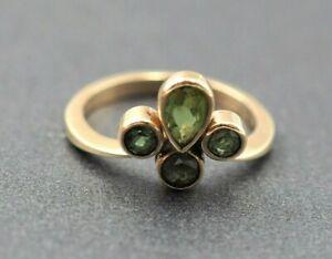 Women's 9ct Gold & Green/Blue Sapphire & Peridot Ring Fine Vintage Jewellery