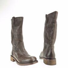 Latitude Femme Women's Shoes Dark Gray Leather Mid Calf Boots Size EU 35