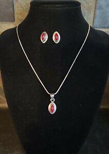 Vintage Native American Sterling Silver & Red Jasper Necklace & Earrings Set