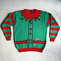 Mens Elf Christmas Jumper with JINGLE BELLS Size XL Novelty Pullover Sweater