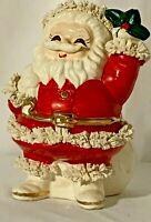 Vintage Ceramic SANTA SAVER BANK Spaghetti Christmas Gold Trim Japan *A*