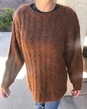 Vintage Carducci Womens Brown Super Soft Fuzzy Mohair Blend Long Sweater - Small