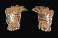 Silver Sheaf Bundle Clip On Earrings Vintage Mexico 925 Mexican Tj-35 Sterling