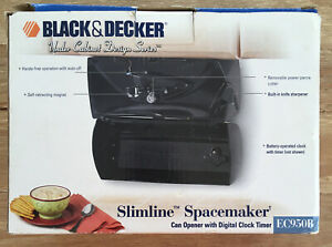 Black & Decker EC950B Spacemaker Slimline Can Opener / Digital Clock Timer Black