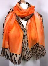Leopard Print Scarf Pashmina Orange Oversized Long Shawl Wrap Tie Dye Ombre NEW