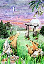 Hares at Yule Christmas card, drawn and printed in the UK Solstice Pagan