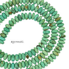 """16"""" Natural Chinese Turquoise Rondelle Beads 6mm Sky  / Teal Blue #82213"""