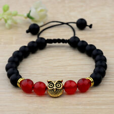 Charm Mens Lava Stone Red Agate Gold Owl Plated Beads Braided Macrame Bracelets