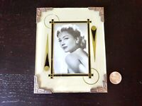 Art Deco Reverse Painted Glass Frame Mid Century Black Silver 1940's Ranch House
