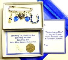 Quelque chose de bleu Lucky Bridal brooch pin Charme Jarretière/Bouquet Lucky Sixpence Pearl