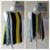 NEXT Fab Layered Navy & Lemon Loose Tunic TOP size 12 EXCELLENT CONDITION