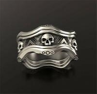 Punk 925 Silver Skull Band Ring Women Men Biker Cool Jewelry Gift Size 5-13