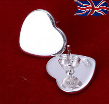 925 Sterling Silver Heart Stud Earrings Shiny Butterfly Back Free Gift Bag UK