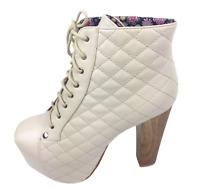 Womens Ladies Beige Faux Leather High Heel Party Shoes Ankle Boots Size UK 3 New