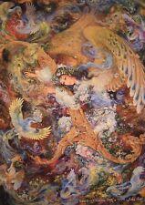 Persian Farshchian Painting Print Fine Art Hafiz Poem Farsi Calligraphy Hafez 39