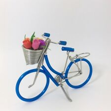 Handmade Blue Bicycle with Tulip Flower Miniature Dollhouse Decoration
