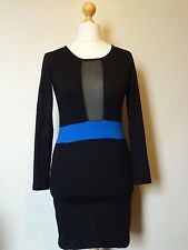 Motel Rocks Sheer Ace Dress Size Med 12 BNWT RRP £44.99 Black Blue Uk Freepost