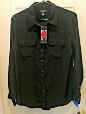 NWT WOMENS CENTRAL PARK WEST NEW YORK Black  BUTTON SHIRT BLOUSE Size Large