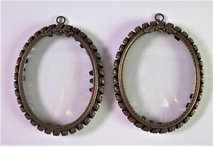 - 2 schöne alte MINIATURRAHMEN Fotorahmen - Messingspirale +gewölbte Glasscheibe
