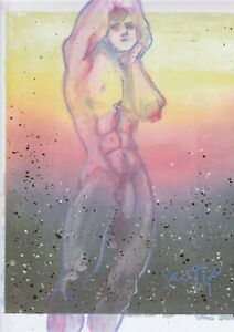 Male Nude- Mixed Media Fine Art Drawing- Signed by Artist