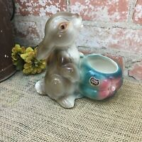 CUTE Vintage Royal Copley Bunny Rabbit Ceramic Vase Planter Brown & Turquoise