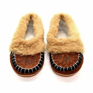 Womens Ladies Natural Leather Slippers Moccasins All Size 3 4 5 6 6.5 7 UK N