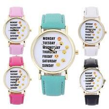 Fashion Casual Women Emoji Leather Watch Stainless Steel Quartz Analog Watches