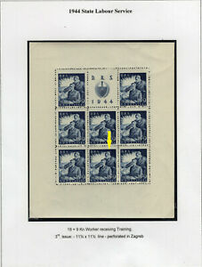 CROATIA 1944. Michel 164 C MNH miniature sheet .....printers flaw
