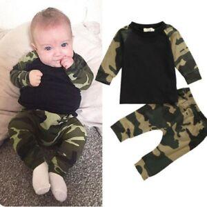 Ropa de Niños 2 Piezas Pantalon Camisetas Camuflaje Bebé Recién Nacidos Baby Set