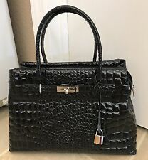 NWOT Italian Made Birkn Black Croc Embossed Patent Leather Satchel Handbag