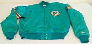 Vintage 1980s STARTER Stripe Satin Jacket Coat MIAMI DOLPHINS Marino NFL L Rare
