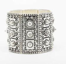 Silver Wide Band Bracelet.  Stretch - Relax 7 inch wrist. Ornate