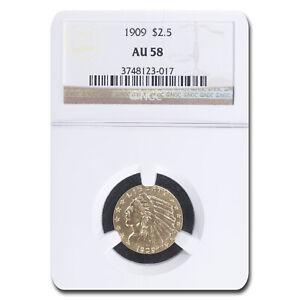1909 $2.50 Indian Gold Quarter Eagle AU-58 NGC - SKU#15476