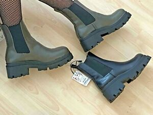ZARA KHAKI GREEN MID-HEEL ANKLE BOOTS WITH TRACK SOLES  NEW SIZE UK 4&5&6&7