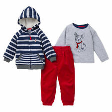 NEW Little Me Boy's 3-piece L/S Tee Jacket Pant Sets Red/Navy/Grey Multi 4T