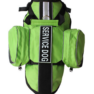Service Dog BACKPACK Harness Vest with 2 Removable Saddle Bags label Patches