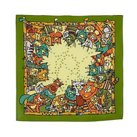 Foulard en soie Petit Foulard vert en soie motif Chat, Carre de soie Chats Vert