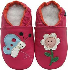 shoeszoo butterfly flower fuchsia 2-3y S soft sole leather toddler shoes
