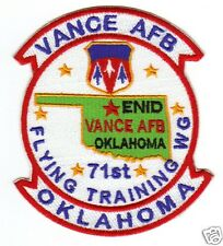 USAF BASE PATCH, VANCE AFB, ENID, OKLAHOMA, 71ST FLYING TRAINING WING         Y