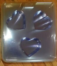 Heart Soap Making Mold 3 Cavities 4 oz Plastic Melt and Pour Valentines Day Love