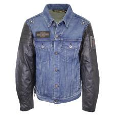 Harley-Davidson Men's Blue #1 Leather Sleeve Button Up Jacket (Retail $225) S04